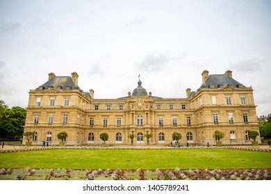 Paris, France - April 25, 2019: Luxembourg Palace and Luxembourg Garden (The Jardin du Luxembourg