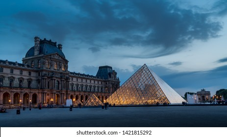Paris, France; April 25, 2019: The Louvre Museum is one of the world's largest museums and a historic monument. A central landmark of Paris, France