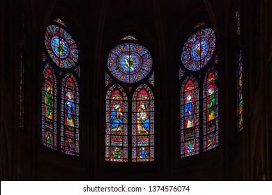PARIS, FRANCE - APRIL 25: Stained glass windows in Cathedral Notre Dame de Paris on april 25, 2011 in Paris. Notre Dame de Paris is UNESCO World Heritage Site.