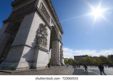 Paris, France - April 26, 2016 - People walking around The Arc de Triomphe in a sunny afternoon