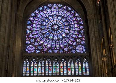 PARIS, FRANCE -  APRIL 26: Rose window at Cathedral Notre Dame de Paris on april 26, 2013 in Paris.The cathedral of Notre Dame is one of the top tourist destinations in Paris.