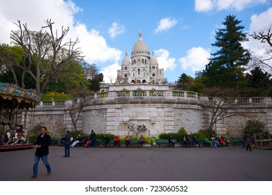 Paris, France - April 27, 2016 - View of the Basilica of the Sacre Coeur in Montmartre, Paris.