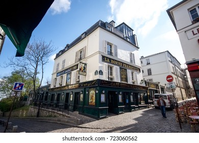 Paris, France - April 27, 2016 - View of La Bonne Franquette Restaurant in Montmartre, Paris