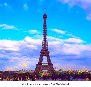 PARIS, FRANCE - APRIL 27, 2017: View of Effel Tower from Trocadero Square. Famous observation deck in Paris.