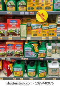 Paris, France - April 27, 2019 : Shelves with a variety of Herbicides in a french Hypermarket. Roundup is a brand-name of an herbicide containing glyphosate, made by Monsanto Company.