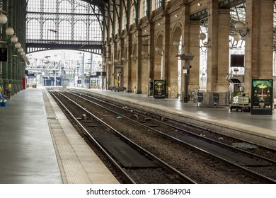 PARIS, FRANCE -  APRIL 27,2013:Inside view of Paris North Station, (Gare du Nord).Building designed by Jacques Hittorff, completed at 1864 now serve about 190 million per year.