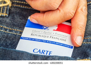 Paris, France - April 28, 2017:French electoral card out of the pocket of a jeans, 2017 presidential and legislative elections concept