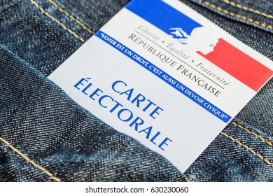 Paris, France - April 28, 2017:French electoral card in the rear pocket of a jeans, 2017 presidential and legislative elections concept