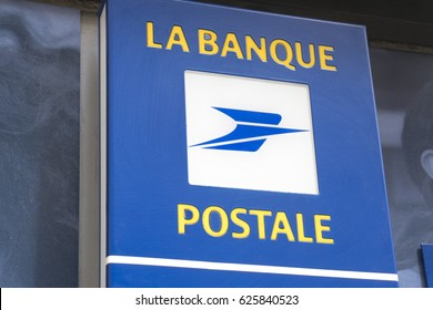 Paris, France - April 29, 2016: La Banque Postale signboard. La Banque postale is a French bank, created on 1 January 2006 as a subsidiary of La Poste, the national postal service