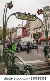 Paris, France, April 30, 2013 . Subway entrance is decorated in Art Nouveau style