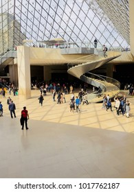 Paris, France - April 30, 2017. Inside the pyramid in the Louvre museum