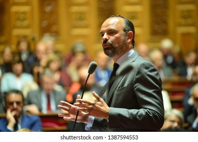PARIS, FRANCE - APRIL 30, 2019 : French Prime Minister Edouard Philippe Speaks at the French Senate for the weekly Questions for the Government by French Senators