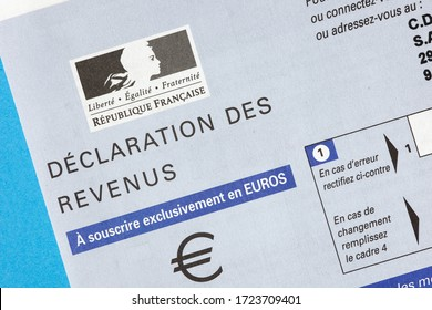 PARIS, FRANCE - April 30, 2020: French taxpayer income tax return