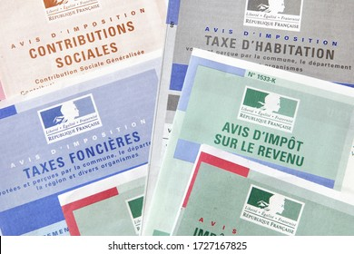 PARIS, FRANCE, April 30, 2020: Public treasury tax, property taxes, housing tax, income tax, social contributions