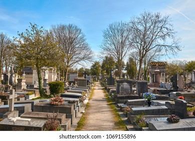 PARIS, FRANCE -APRIL 4, 2018: Pere Lachaise Cemetery is the largest cemetery in the city of Paris