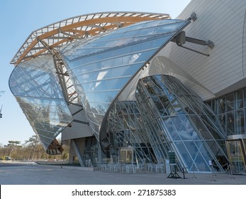 PARIS, FRANCE - APRIL 7, 2015: Louis Vuitton Foundation building. Made of 3,584 laminated glass panels, it was designed by the architect Frank Gehry and opened to the public in 2014.