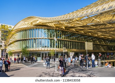 PARIS, FRANCE - APRIL 8, 2017: Forum des Halles (2016) - a new modern shopping mall. Les Halles was old Paris's central fresh food market.