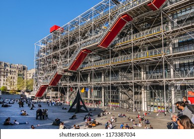 PARIS, FRANCE - APRIL 8, 2017: View of Centre Georges Pompidou (1977). High-tech style of Centre Georges Pompidou is a complex building; it houses Library, National Art Modern museum and IRCAM.