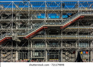 PARIS, FRANCE - APRIL 8, 2017: High-tech style of Centre Georges Pompidou (1977 Centre Georges Pompidou is a complex building; it houses Library, National Art Modern museum and IRCAM.