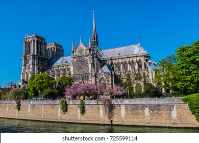PARIS, FRANCE - APRIL 8, 2017: Tourists visiting the Cathedral Notre Dame de Paris - most famous Roman Catholic cathedral (1163 - 1345) on the eastern half of the Cite Island.
