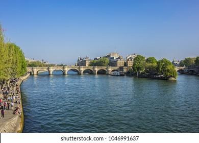PARIS, FRANCE - APRIL 9, 2017: Pont de la Concorde - a bridge crosses Seine River. Pont de la Concorde Connecting Quai des Tuileries at Place de la Concorde (Right Bank) and Quai d'Orsay (Left Bank).