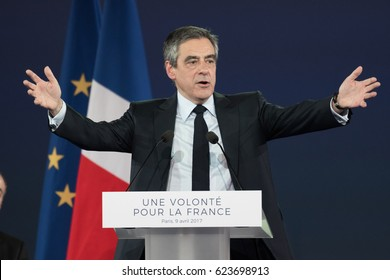PARIS, FRANCE - APRIL 9, 2017 : Francois Fillon in meeting from political party Les Republicains at Porte de Versailles in Paris for the French presidential election of 2017.