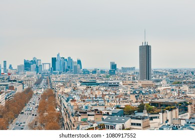 PARIS, FRANCE -APRIL 9, 2018: View from the Arc de Triomphe to the city