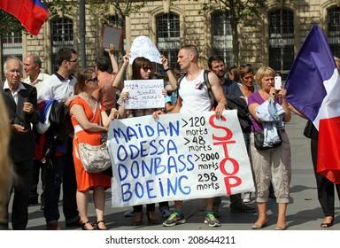 PARIS, FRANCE - AUG. 02: The protest manifestation against war in Ukraine in Republic Square of Paris on aug. 02. 2014 in Paris, France.