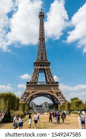 Paris, France,  Aug 22, 2018, The Eiffel Tower against blue and cloudy sky, a wrought-iron lattice tower on the Champ de Mars in Paris, France, named after the engineer Gustave Eiffel