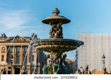 Paris, France, Aug 23, 2018, The Fountaine des Mers (the Fountain of the Seas) ,  one of two very large and beautiful fountains that sit either side of the Luxor Obelisk in the Place de la Concorde.