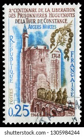 Paris, France - Aug. 31, 1968: Tower de Constance. Stamp issued for the Bicentenary of the release of Huguenot prisoners from the Tower de Constance, Aigues Mortes.
