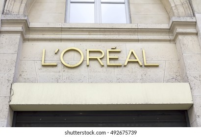 Paris, France - AUG 6, 2016. L'Oreal Paris Store in Paris,  The L'Oreal Group is a French cosmetics and beauty company, the world's largest cosmetics company.