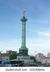 Paris, France - August 05, 2011: The July Column, built in 1835 at Bastille square in Paris, France