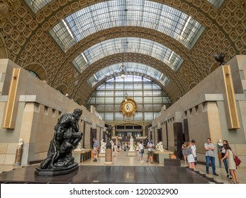 Paris, France - August 1, 2018: Interior of the Musee d'Orsay in Paris, France. The museum houses the largest collection of impressionist and post-impressionist masterpieces