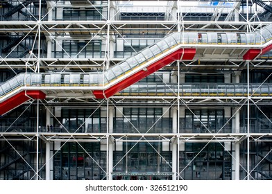 PARIS, FRANCE, AUGUST 12, 2013: George Pompidou center by architect Renzo Piano, in Beaubourg square