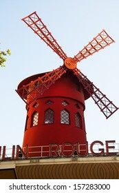Paris, FRANCE - August 14, 2013: The Moulin Rouge, located in the famous red light district of Pigalle, near Montmartre is one of the most famous clubs in Paris.