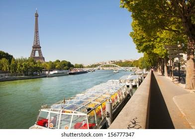 PARIS, FRANCE - August 15, 2013: view of Seine River, in Paris city, near the Alma bridge.