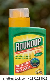Paris, France - August 15, 2018 : Herbicide  in a french garden. Roundup is a brand-name of an herbicide containing glyphosate, made by Monsanto Company.
