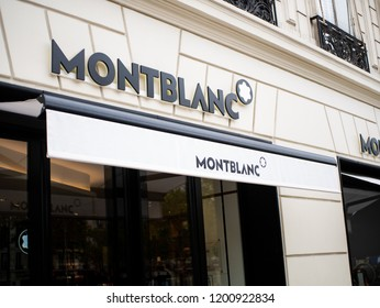 Paris, France - August 15, 2018 : Montblanc store in Paris. Montblanc is a German manufacturer of luxury writing instruments, watches, jewellery and leather goods