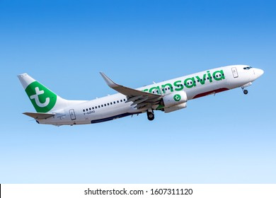 Paris, France - August 15, 2018: Transavia Boeing 737 airplane at Paris Orly airport (ORY) in France. Boeing is an aircraft manufacturer based in Seattle, Washington.