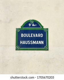 Paris, France. August 15, 2019. Boulevard Haussmann street sign close-up.
