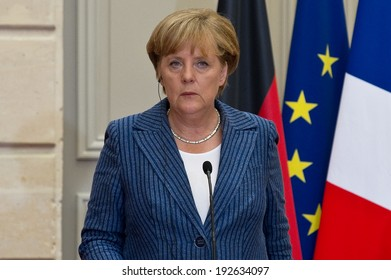 PARIS, FRANCE - AUGUST 16, 2011 : Chancellor Angela Merkel in press conference at Palais de l'Elysee for the summit about the reform of the governance of the euro area