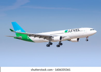 Paris, France - August 16, 2018: Level Airlines Airbus A330 airplane at Paris Orly airport (ORY) in France. Airbus is an aircraft manufacturer from Toulouse, France.