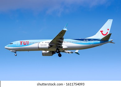 Paris, France - August 17, 2018: Tui Boeing 737 Max airplane at Paris Charles de Gaulle airport (CDG) in France. Boeing is an aircraft manufacturer based in Seattle, Washington.