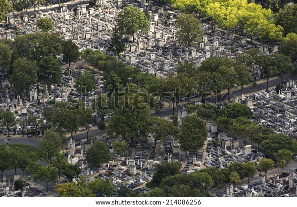 Paris, France - August 18: Aerial view of Montparnasse Cemetery in Paris, France on August 18, 2014.