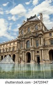 Paris, France - August 18: Louvre Museum, Main wing, Paris France 18 August 2008
