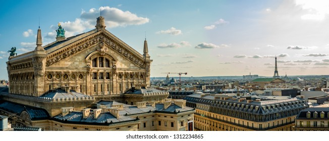 Paris, France, August 18,2018 : Panoramic view from Galeries Lafayette Haussmann unto the Paris skyline with Opera Garnier and Eiffel tower