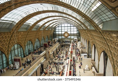 PARIS, FRANCE- AUGUST 19, 2014; D'orsay is a museum in Paris, France, on the left bank of the Seine. It is housed in the former Gare d'Orsay, a Beaux-Arts railway station built between 1898 and 1900.
