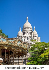 Paris, France - August 2, 2018: View of the famous Sacre Coeur or Sacred Heart Cathedral  in Paris. This famous church is located in Montmartre area of France.