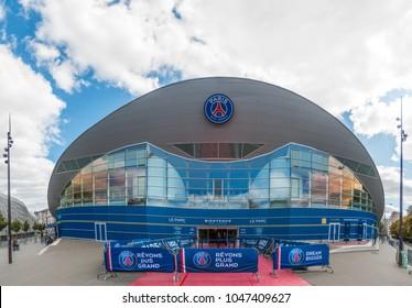 """Paris, France - August 20, 2017: """"Parc des Princes"""", official Paris Saint-Germain Stadium in cloudy day in Paris, France on August 20, 2017"""